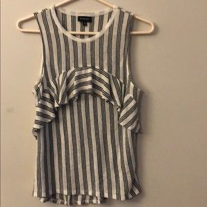sleeveless strip top with ruffle detailing